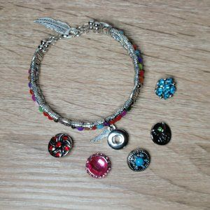 12mm Snap Bracelet w/5 Snaps Feather Angel Flower
